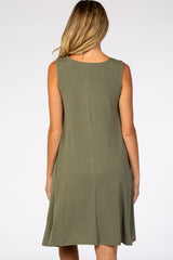 Olive Green Sleeveless Maternity Plus Dress