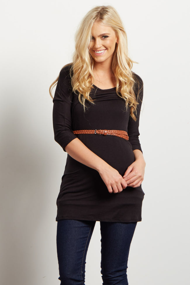 Black Belted 3/4 Sleeve Maternity Top