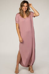 Mauve V-Neck Short Sleeve Maxi Dress