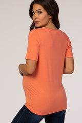 Coral V-Neck Short Sleeve Maternity Top