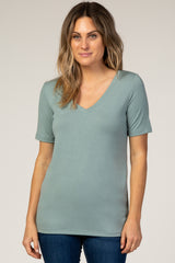 Sage V-Neck Short Sleeve Basic Top