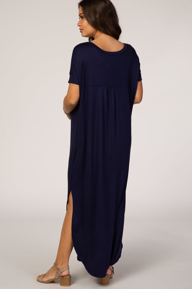 Navy Blue Green Side Slit Maternity Maxi Dress