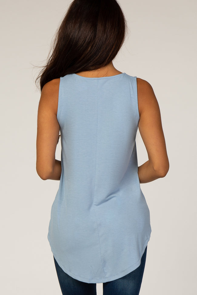 Blue Rounded Hem Sleeveless Top