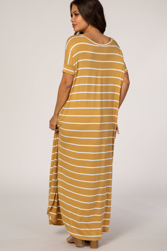 Mustard Striped Short Sleeve Maternity Maxi Dress