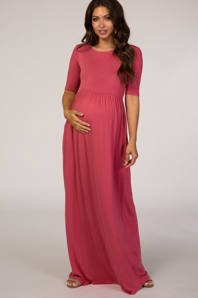 Pink Short Sleeve Maternity Maxi Dress