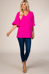 Fuchsia 3/4 Ruffle Sleeve V-Neck Top