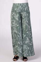 Sage Green Leaf Print Wide Leg Maternity Pants
