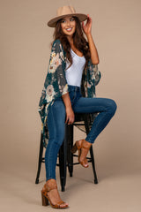 Forest Green Floral Sheer Kimono