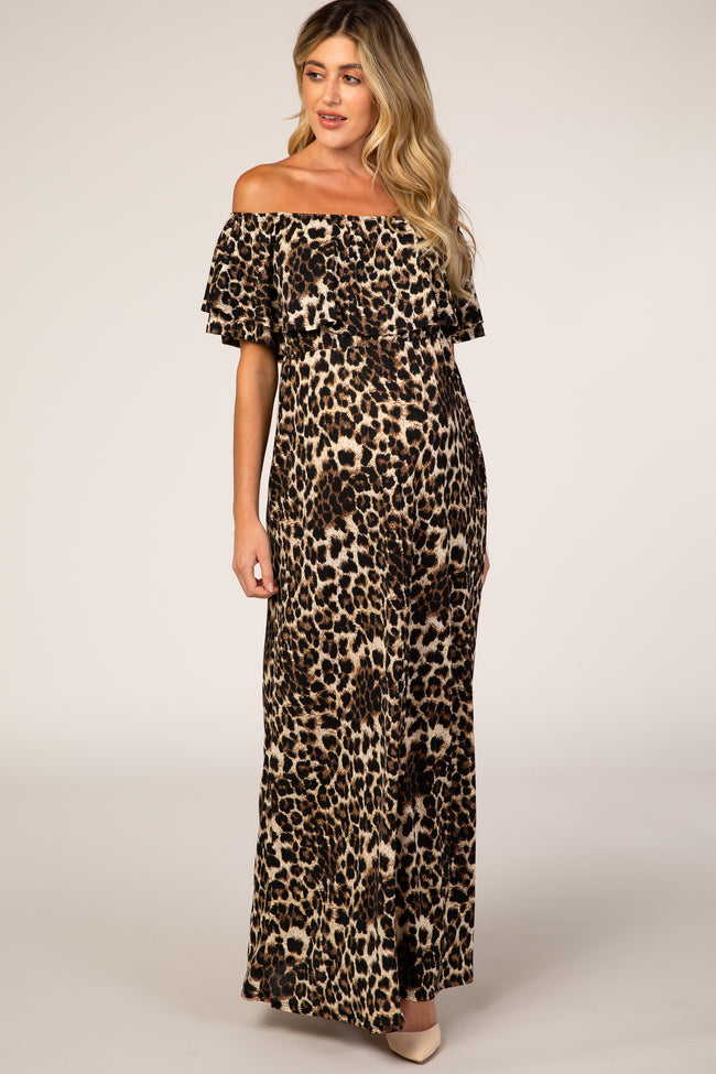 Brown Leopard Print Off Shoulder Maternity Maxi Dress