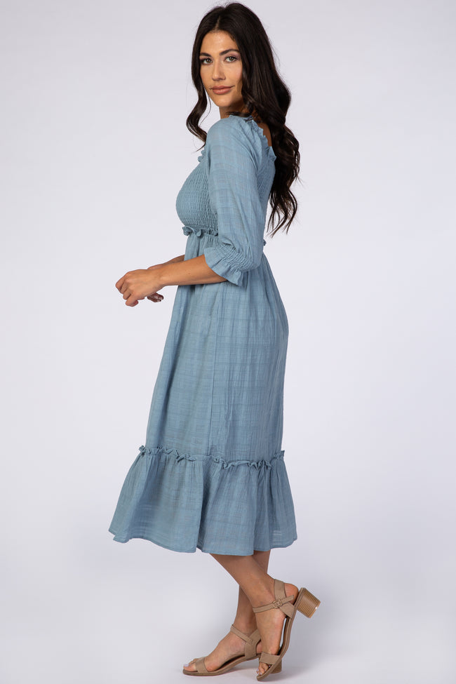 Blue Smocked Midi Dress