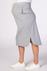 Grey Striped Elastic Waist Maternity Skirt