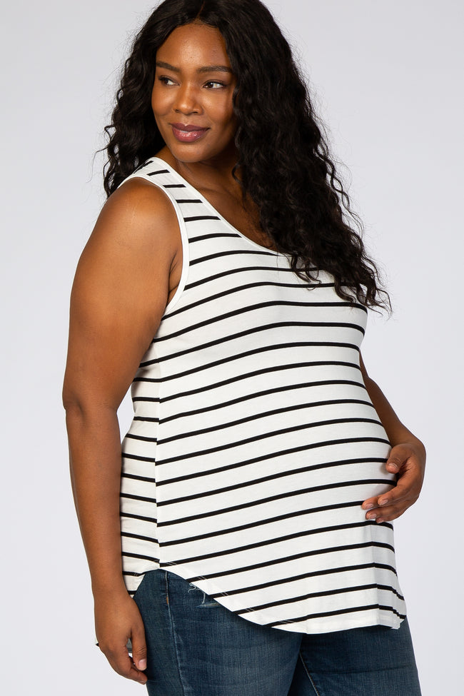Ivory Stripe Sleeveless Maternity Plus Top