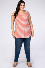 Coral Striped Sleeveless Plus Top