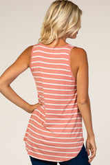 Salmon Striped Sleeveless Top