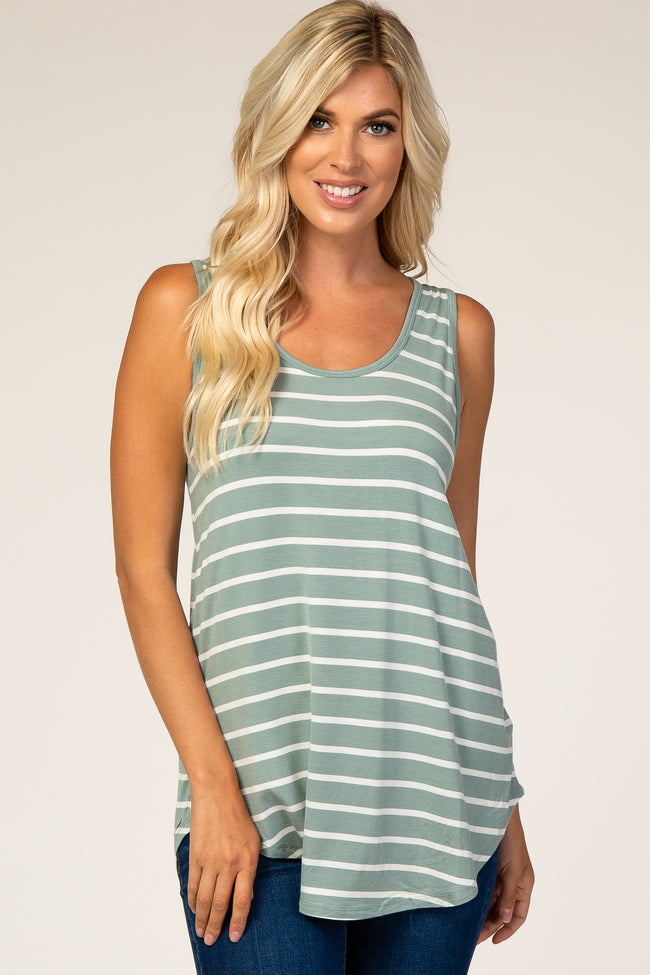 Sage Striped Sleeveless Top