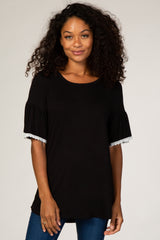 Black Crochet Trim Maternity Top