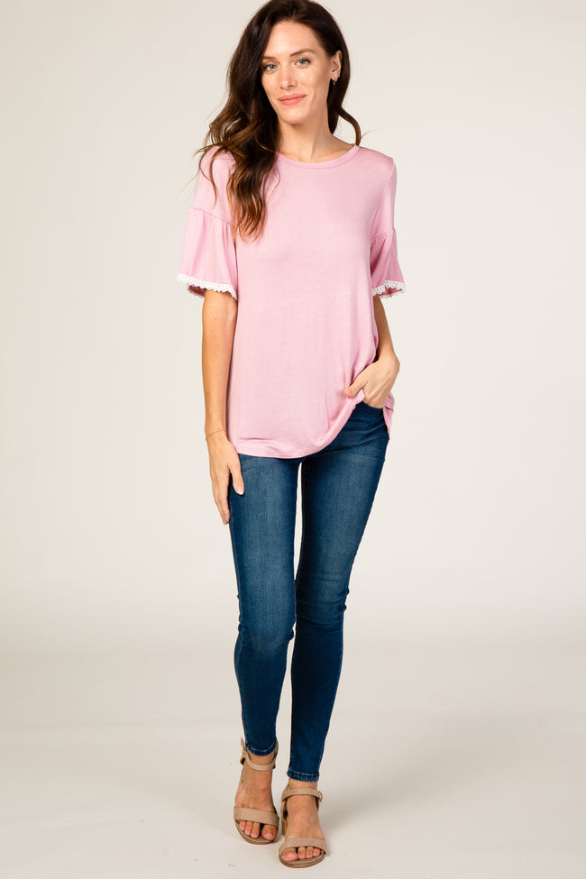 Pink Crochet Trim Maternity Top