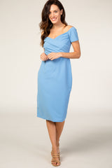 PinkBlush Light Blue Solid Off Shoulder Fitted Dress