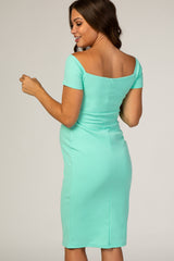 PinkBlush Mint Solid Off Shoulder Maternity Fitted Dress