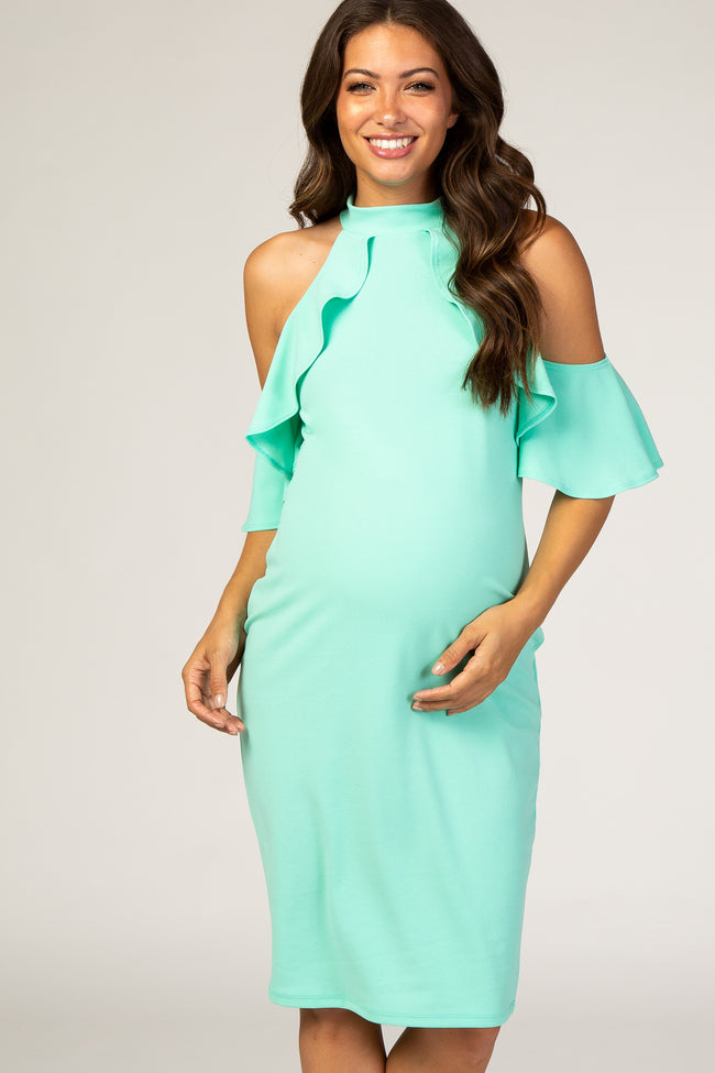 PinkBlush Mint Mock Neck Ruffle Trim Fitted Maternity Dress