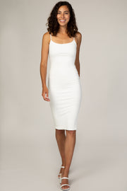 PinkBlush Ivory Ribbed Fitted Cami Midi Dress