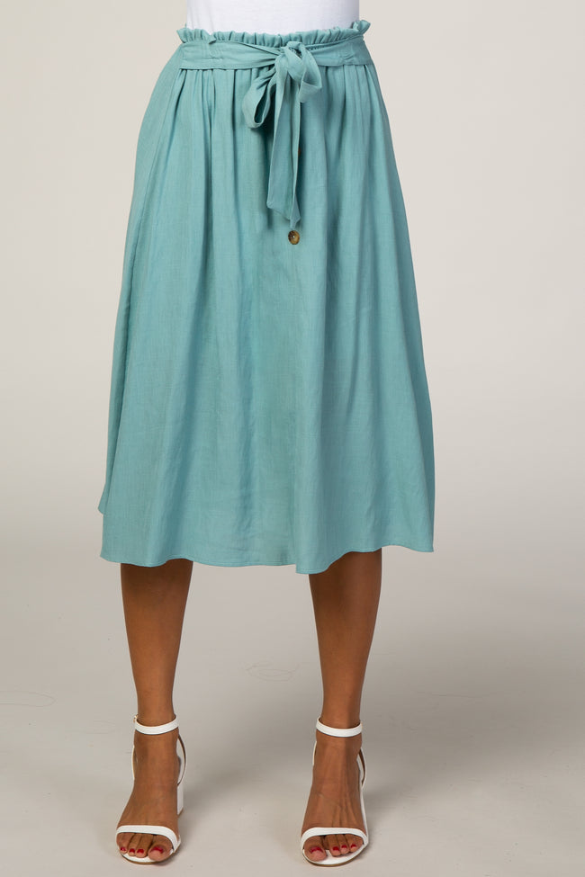 Aqua Paper Bag Waist Button Detail Skirt