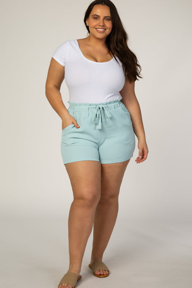 Mint Green Paper Bag Maternity Plus Shorts