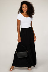 Black Tiered Boho Maxi Skirt