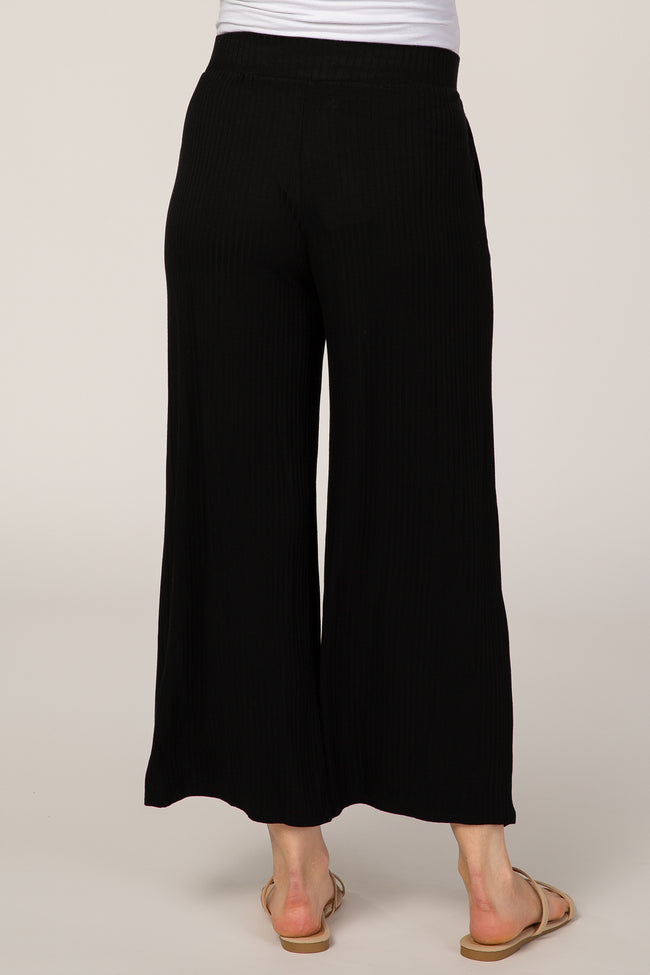 Black Ribbed Cropped Wide Leg Maternity Pants