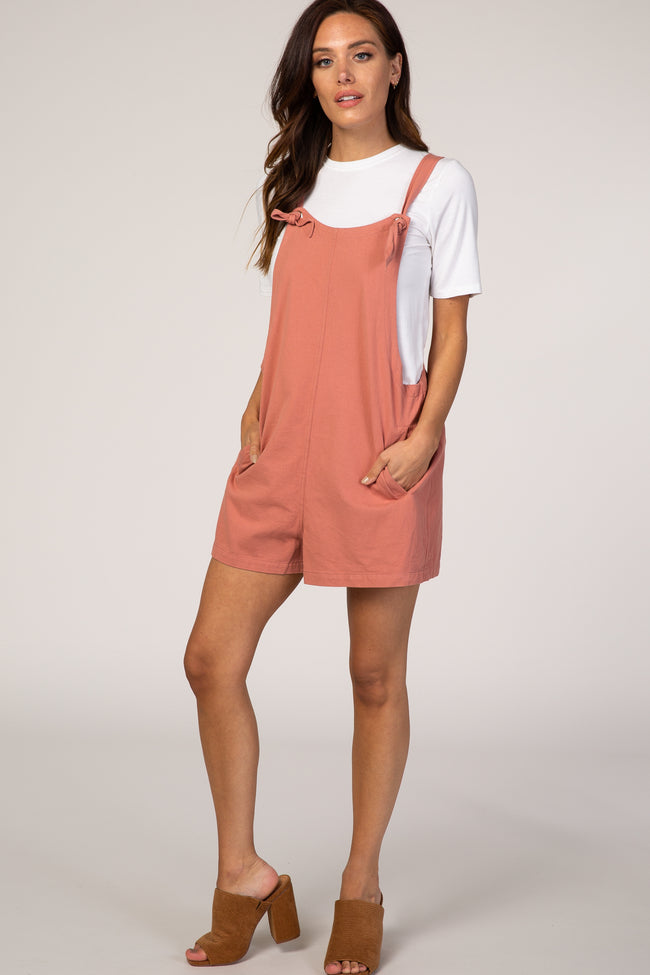 Pink Adjustable Strap Maternity Short Overalls