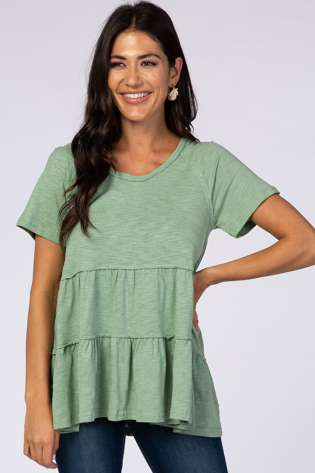 Green Wide Neck Short Sleeve Tiered Maternity Top