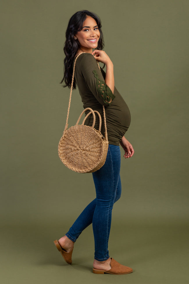 Olive Crochet Sleeve Maternity Top