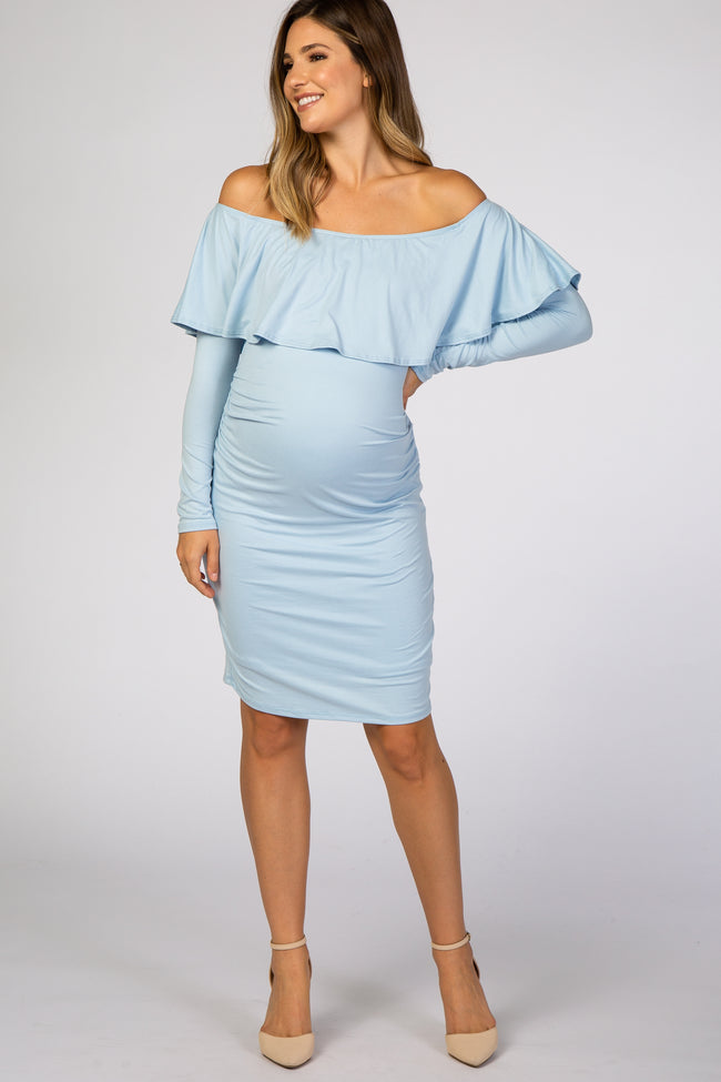 Light Blue Ruffle Trim Off Shoulder Fitted Maternity Dress