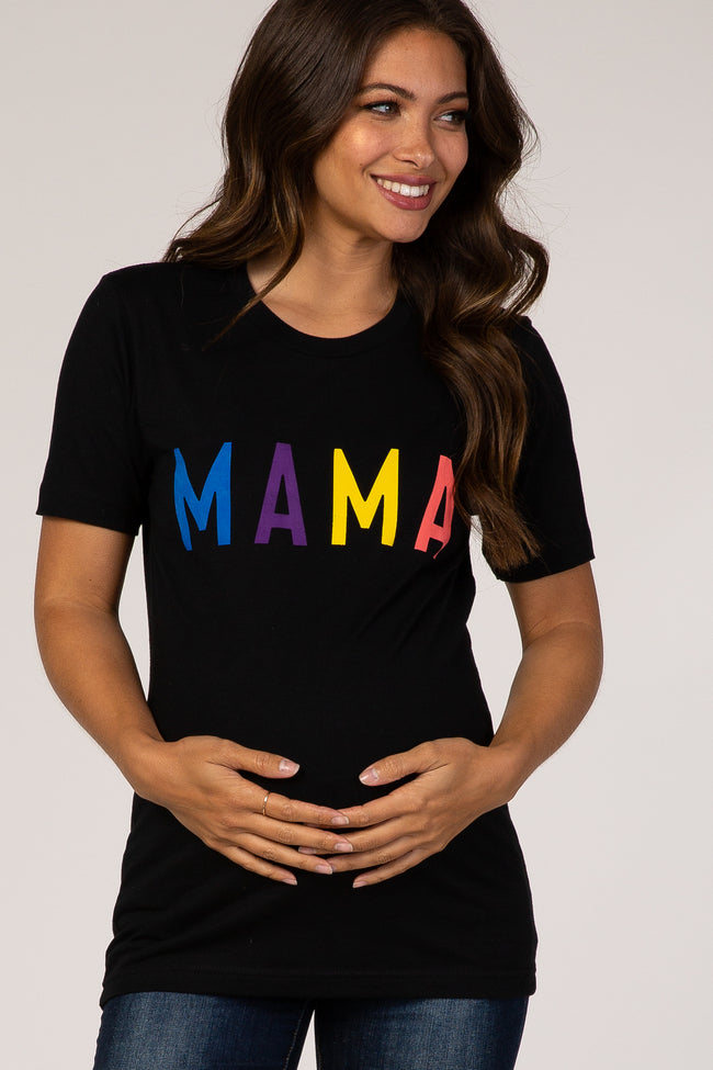 Black Short Sleeve Graphic Maternity T-Shirt