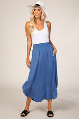 Blue Flowy Maternity Skirt