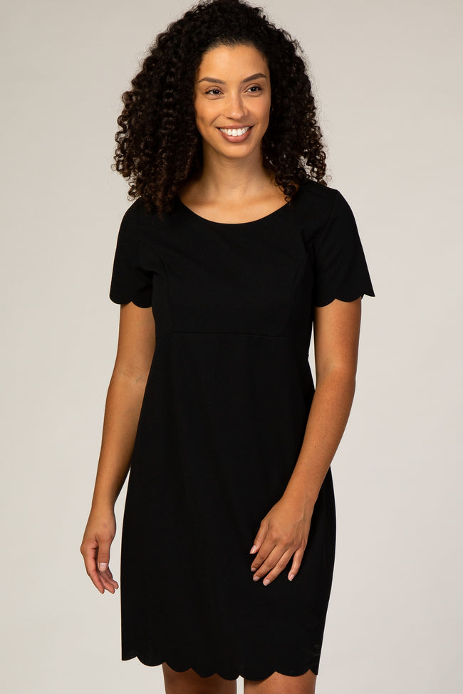Black Scalloped Hem Babydoll Dress