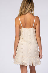 Cream Thin Strap Textured Polka Dot Ruffle Hem Maternity Dress