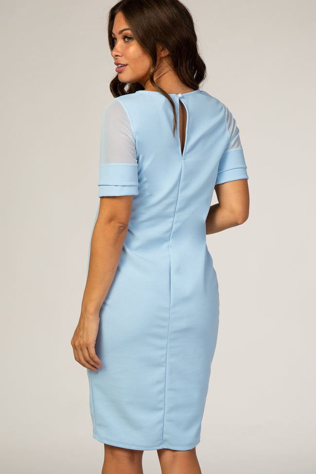 PinkBlush Light Blue Mesh Sleeve Maternity Fitted Dress