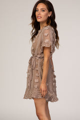 Mocha Polka Dot Textured Dress