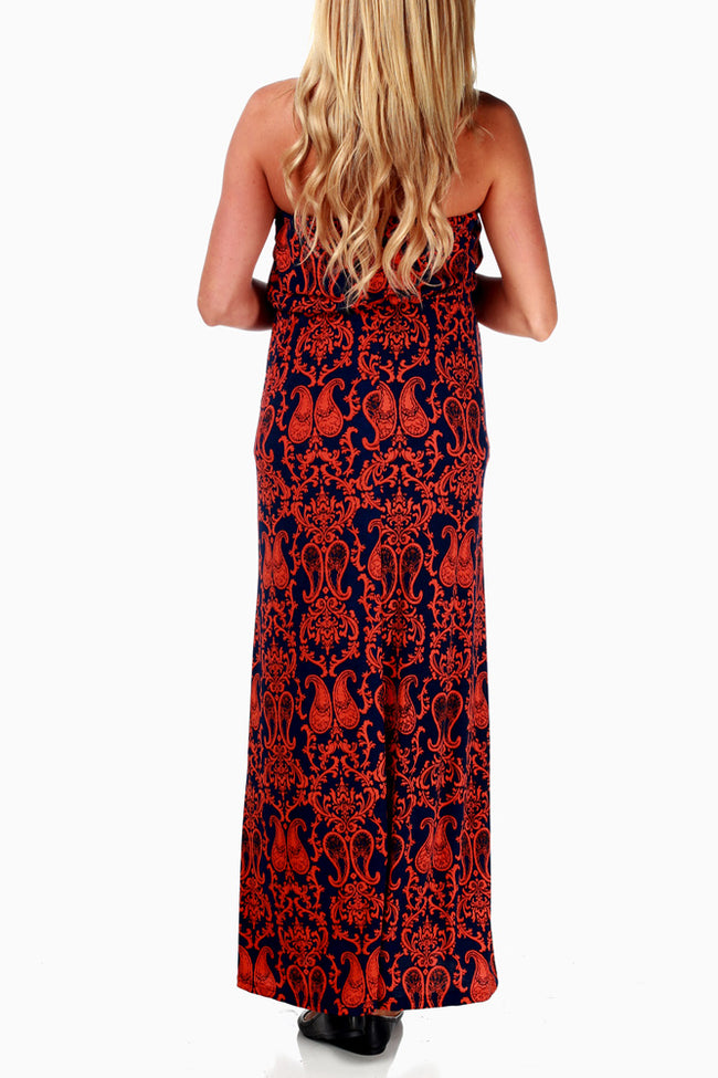 Navy Rust Paisley Print Strapless Maxi Dress