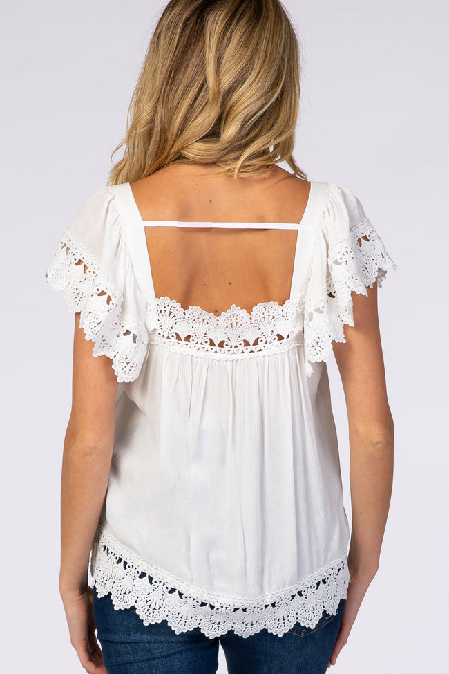 White Crochet Edge Flowy Sleeve Maternity Top