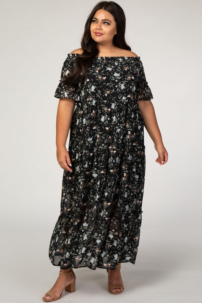 Navy Floral Off Shoulder Plus Maxi Dress