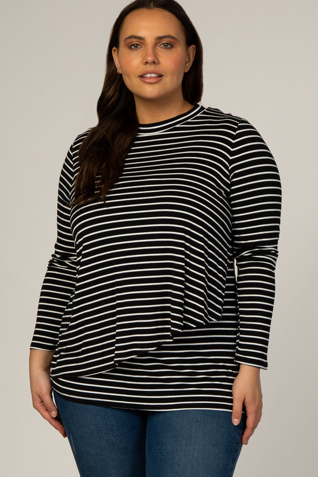PinkBlush Black Striped Long Sleeve Plus Maternity Nursing Top