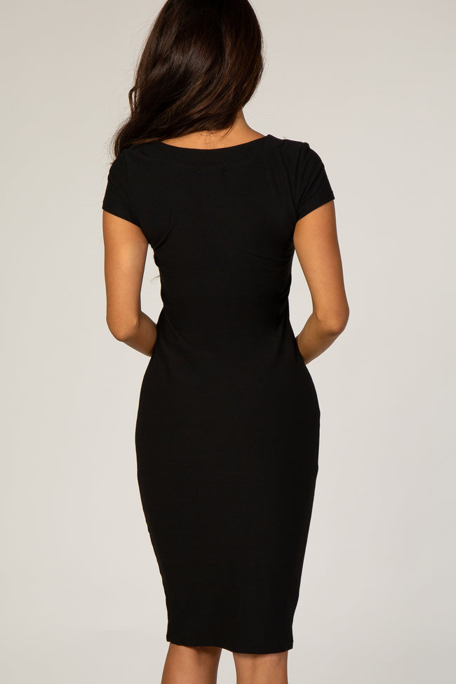 Black Button Front V-Neck Fitted Dress