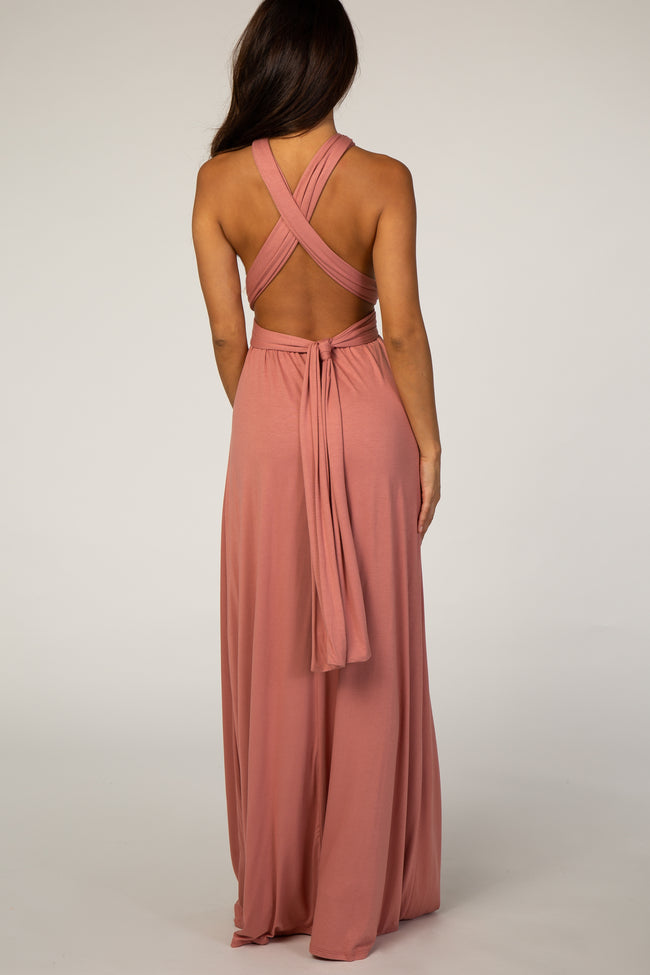 Peach Adjustable Strap Open Back Maxi Dress
