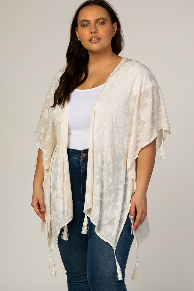 Ivory Floral Embroidered Tassel Detail Plus Maternity Kimono