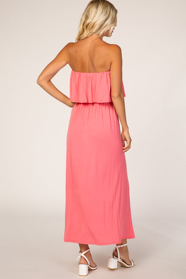Coral Strapless Button Detail Dress
