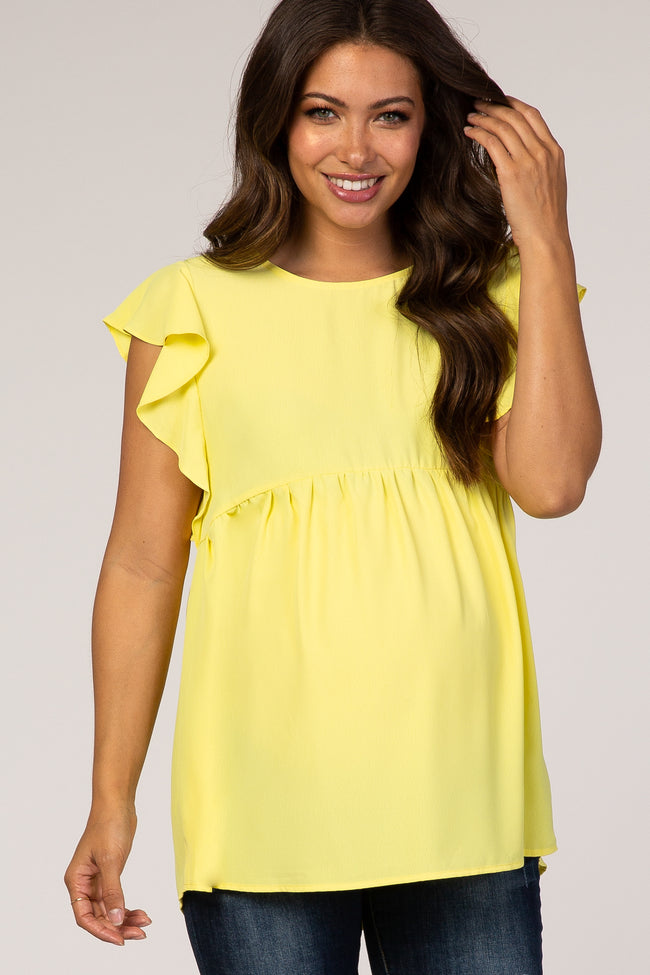 Yellow Ruffle Sleeve Baby Doll Maternity Blouse