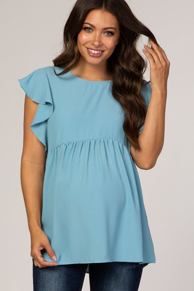 Blue Ruffle Sleeve Baby Doll Maternity Blouse