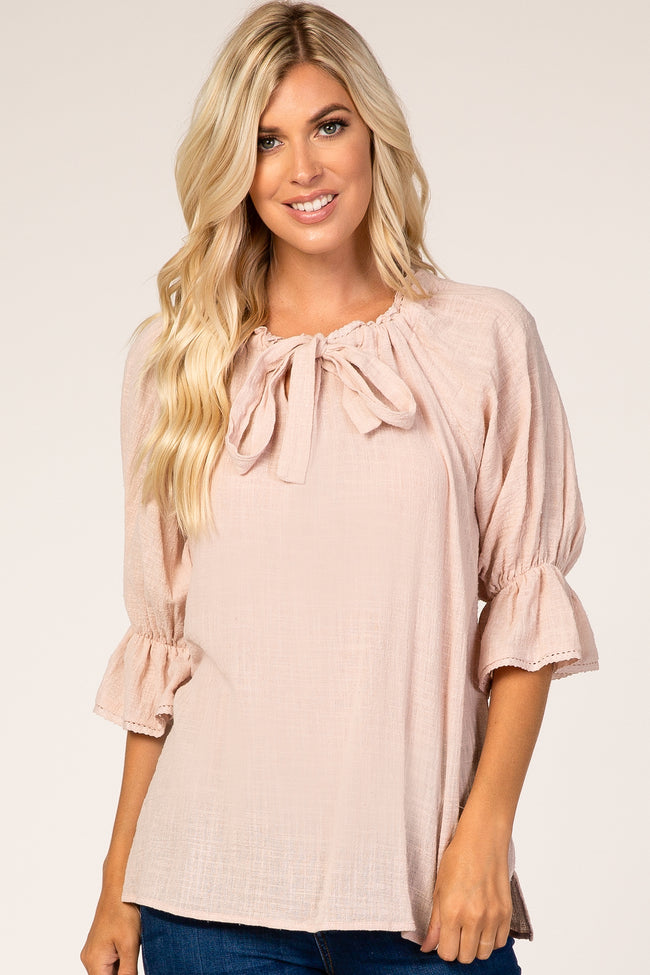 Light Pink 3/4 Bell Sleeve Wide Neck Top